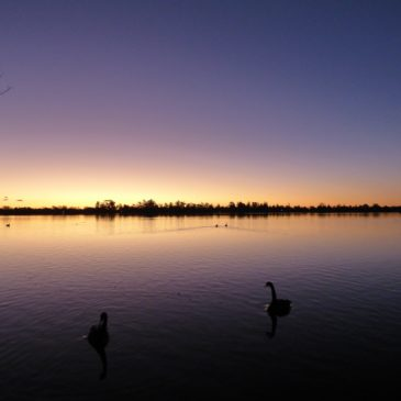 Lake Wendouree Winter Sunset with Aurora Australis Flare