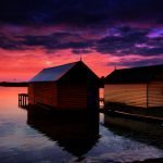 The Ballarat Boat Sheds Sunset Reflection
